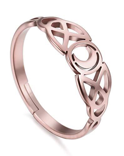 Amaxer irländsk keltisk måne justerbar kvinnor ring rostfritt stål smycken e rostfritt stål,...