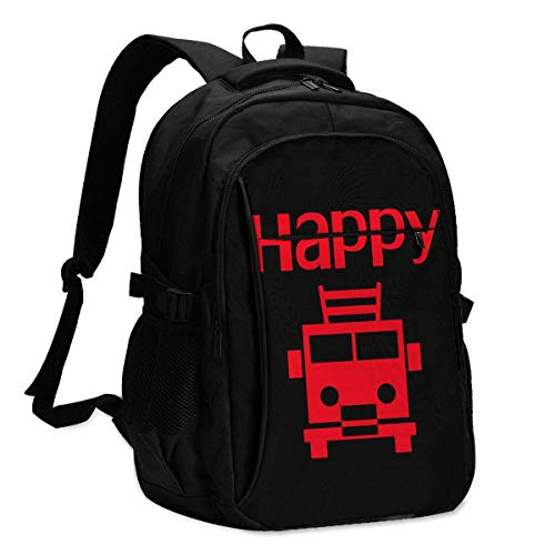 XCNGG Cartoon Happy Fire Truck Travel Laptop Backpack College School Bag Casual Daypack with USB Charging Port