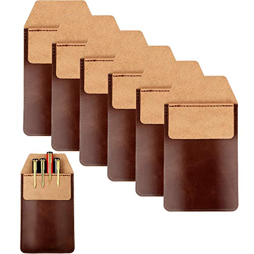 6 Pieces Leather Pocket Protector Durable Pen Holder Pencil Pouch for Shirts Lab Coats, 6.1 x 3.3 Inch (Brown)