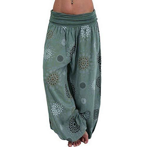 wenyujh Damen Pumphose Haremshose Leicht Locker Sommerhose Freizeithose Blumenmuster Drucken Elegant Aladin Pants Yogahosen, 10#grün, 48 (Herstellergröße: 5XL)