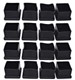 Antrader 16Pcs Square Shaped PVC Furniture Pads Table Chair Leg Foot End Caps Covers Floor Protectors Black 1-1/2 Inches