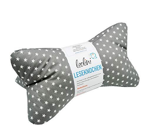 Personalisierbarer Leseknochen Lesekissen Nackenkissen Keilkissen handgemacht Sterne grau