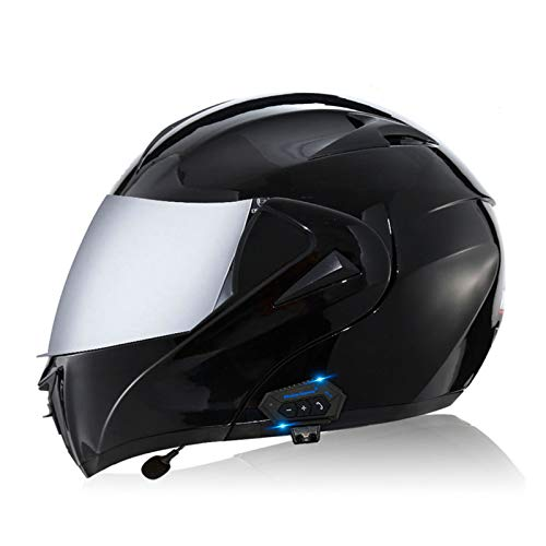 Casco modular con Bluetooth para cascos de motocicleta todoterreno de carreras integrales con aprobación ECE para usar visores solares dobles, casco con altavoz integrado (negro mate),D,M