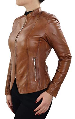 Lederjacke Coli Damen Biker Blazer Jacke Slim Fit aus weichem Lamm Leder (Glattleder) Rot Cognac Braun Schwarz Blau Beige
