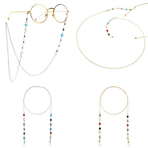 Cadenas de Anteojos Cadena Larga de Gafas para Mujer Brillantes Correa de Retención para Gafas con Cuentas de Cristal de Color y Las Hebillas de Gel de Sílice Antideslizantes 4 Piezas (Oro y Plata)