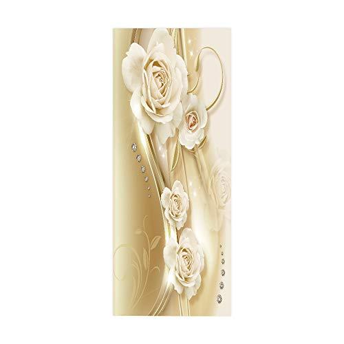 KEXIU 3D Rosa rizada PVC fotografía adhesivo vinilo puerta pegatina cocina baño decoración mural 77x200cm