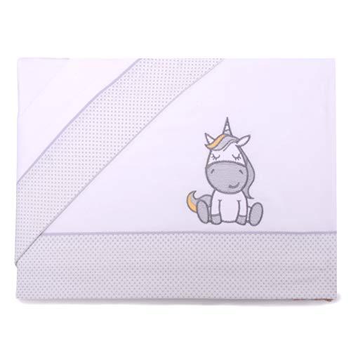PEKITAS Bebe - Set di lenzuola sottili, 3 pezzi, per culla, 60 x 120 cm, 100% cotone (Unicorno Bianco)