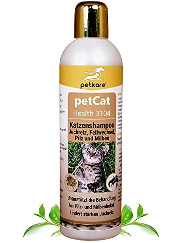 Peticare Katzen Pflege-Shampoo bei Juckreiz Milben Pilz Floh - Spezial Katzen-Shampoo bei unangenehmem Fell-Geruch, pflegt die Katzen-Haut, effektive Pflege-Formel - petCat Health 3104