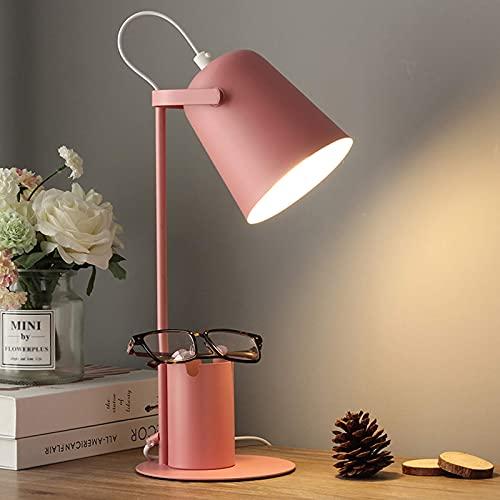 FGVBC Lámpara de Mesa de Arte de Hierro de Estilo nórdico Creativo, lámpara de Escritorio de Lectura LED con portalápices Lámparas de Escritorio con Pantalla giratoria de 180 Grados, Rosa