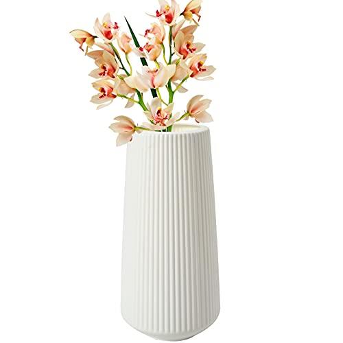 colmanda Vase en Plastique, Imitation Céramique Pot de Fleurs Vases Léger et Durables Vase Décoratif Moderne pour Le Salon, de la Maison, Décoration Bureau 11x 15.5 x 30.5 cm