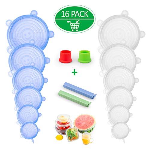Omew Tapas de Silicona EláSticas,16 Unidades de Tapas elásticas para almacenar Alimentos, Tapa para Cuencos, Platos, tarros, Tazas (2 Pinzas para Bolsas, 2 Tapones para Botella)