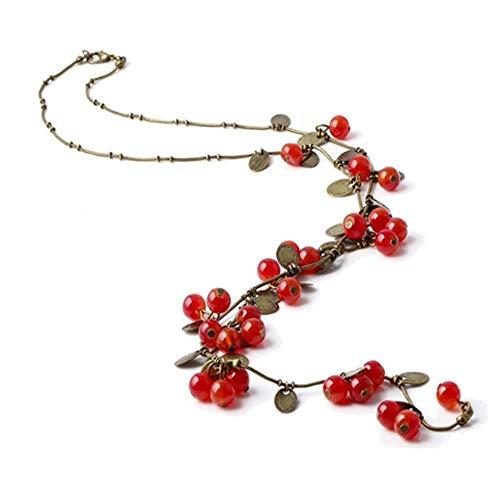 SHUX Moda Lunga Catena Maglione Gioielli per Le Donne alla Moda Bella Vite Rosso Ciliegia Perline Collana Pendente Accessori