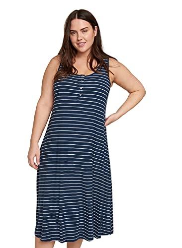 Zizzi Damen Große Größen Kleid aus Viskose mit Rundhalsausschnitt -Blau-42-44