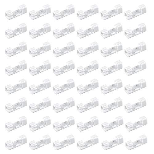 Chudian 80pcs Clips de Cables Adhesiva Abrazadera Cable, Sujeta Cables Pared Soporte Cables Escritorio Sujeta Cables Adhesivo, Clips para Cable de USB, TV, Cargador, en Hogar, Oficina y Coche (blanco)