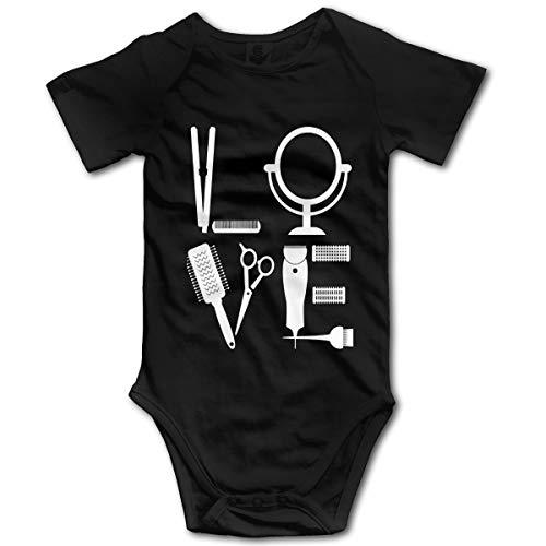 Hairdresser Hairstylist Love for Her Hair Newborn Baby Boy Girl Cotton Jumpsuit Adorable Bodysuit Black