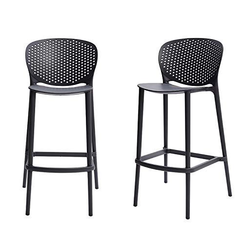 Amazon Basics Dark Grey, Solid-Back Barstool-Set of 2, Premium Plastic