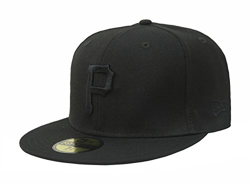 New Era 59Fifty Hat Pittsburgh Pirates Black on Black Fitted Cap 11591115 (8)