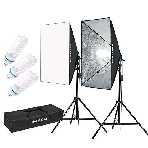 MOUNTDOG 1350W Softbox Lighting Kit Photography Studio Light 20'X28' Professional Continuous Light System with 3pcs E27 Bulbs 5500K Photo Equipment for Filming Model Portraits Advertising Shooting
