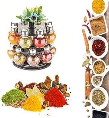 PARIJAT Multipurpose Plastic Big Revolving Spice Rack 16 in 1 / Masala Rack Set/Condiment Set/Spice Container