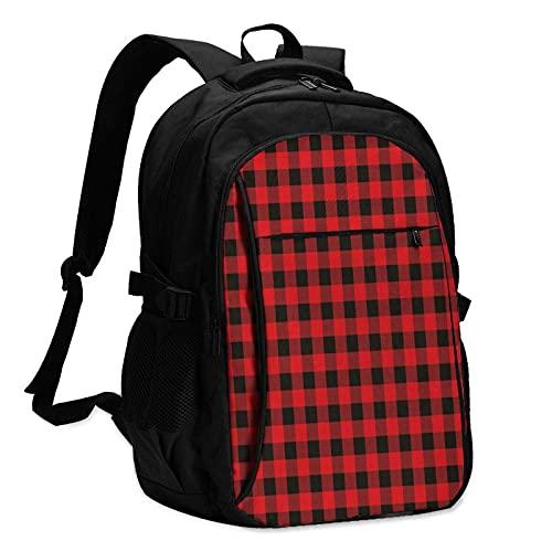 Mochila de viaje para portátil con puerto de carga USB, color rojo y negro