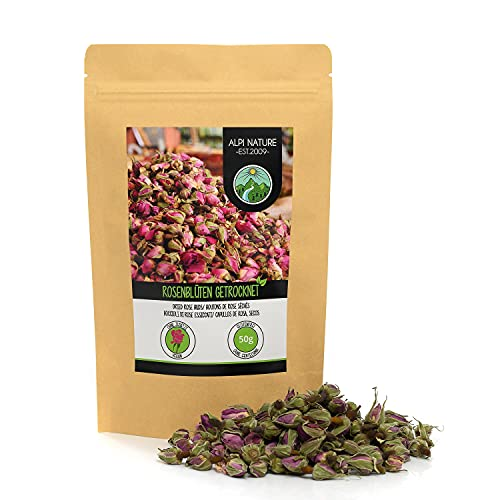 Pétalos de rosa secos (50g), capullos de rosa secos, té de pétalos de rosa de floración controlada, té de capullos de rosa