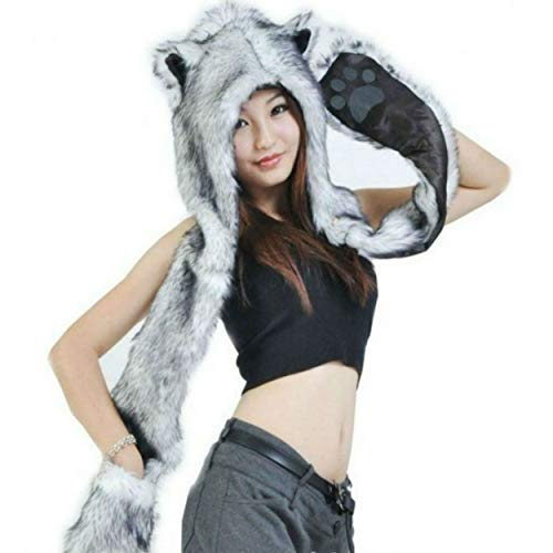 Grey Gray Wolf Anime Faux Animal Hood Hoods Mittens Gloves Scarf Paws Ears