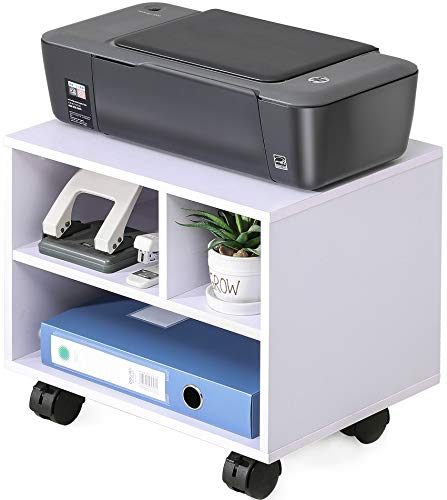FITUEYES Printer Stand On Wheels Mobile Under Desk Work Cart PS304005WW,White
