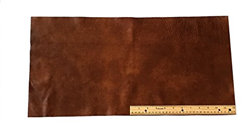 Upholstery Leather Piece Cowhide Medium Brown Light Weight 12 x 24 inches 2 SF