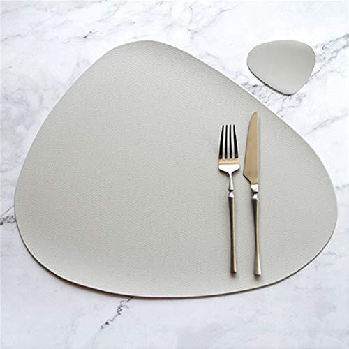 FQF 4 6 8 10PCS Tischset Geschirr Pad Tischset Tischmatte Wärmedämmung PU-Leder Platzdeckchen Bowl Coaster Küche Non-Slip (Color : Beige with Coaster, Size : Set of 10)