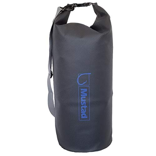 Mustad Dry Bag 40L, Water-Resistant 500-Denier Tarpaulin, Shoulder Strap, and Roll Top Closure, Grey/Blue (MB012)