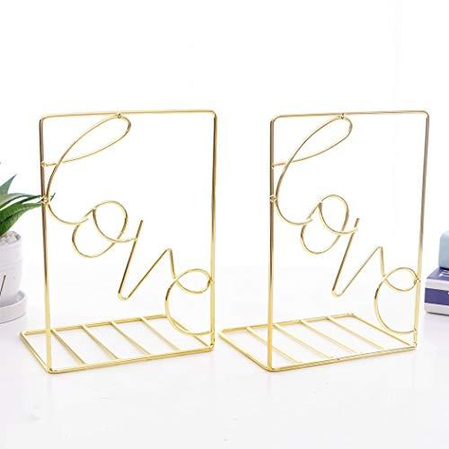 SIPLIV Kreativer Minimalistischer Stil Buchstützen Metall verstellbar Bücherständer Bücherständer Bücherregal Schreibtisch Buchstütze Love, Gold