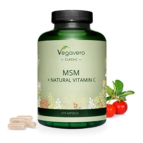 MSM + Natural Vitamin C Vegavero | 270 Capsules | 2100 mg MSM + 150 mg Acerola Extract per Daily Dosage | 99.9% Pure MSM | Skin, Hair, Nails* | Free from Any Additives | Vegan and Lab Tested
