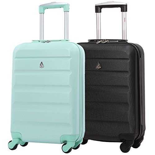 Set of 2 Aerolite 55cm ABS Hard Shell Carry On Hand Cabin Luggage Suitcase (Peppermint + Black)