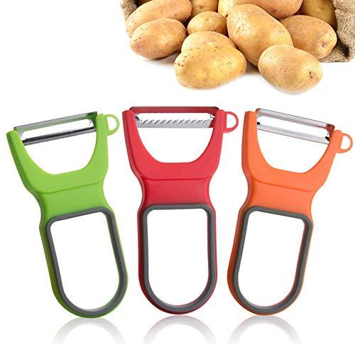 N/D Mokinga Schäler Gemüse, Schäler, 3 PCS Melonenhobel aus Rostfreiem Stahl, Multifunktionales Schälmesser zum Schälen und Zerkleinern von Melonen und Früchten (Größe: 11.8 x 6.5 x 1.5 cm)