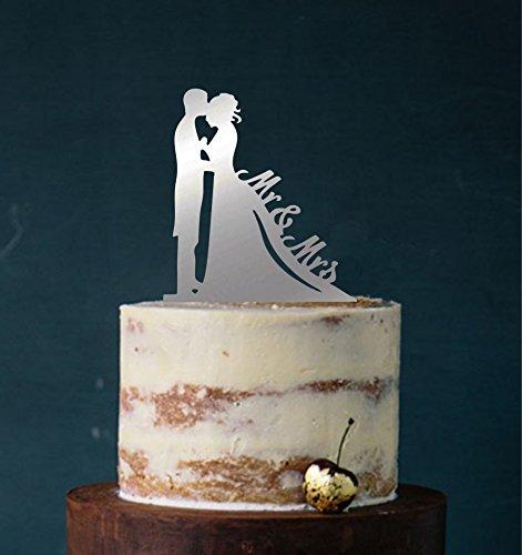 Cake Topper, Mr & Mrs, Farbwahl - Tortenstecker, Tortefigur Acryl, Tortenständer Etagere Hochzeit Hochzeitstorte Kuchenaufstecker (Spiegel Silber (einseitig)) Art.Nr. 5123
