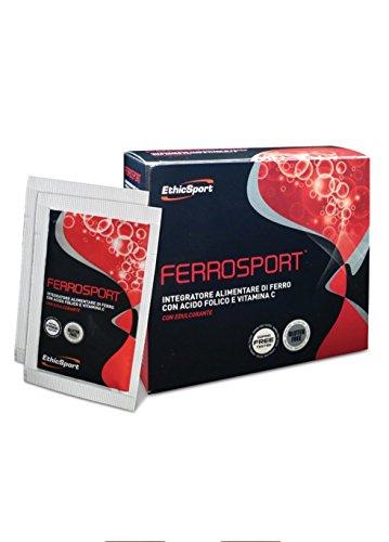EthicSport - Ferrosport - Confezione da 20 buste x 3 g - Integratore alimentare di ferro con acido folico e Vitamina C
