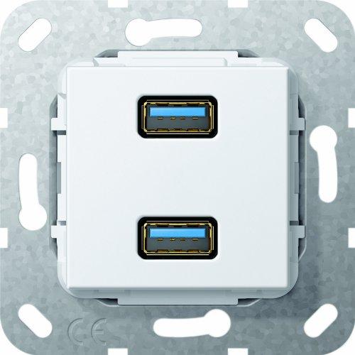Gira 568403 USB 3.0 A 2 Fach Gender Changer Einsatz, reinweiß