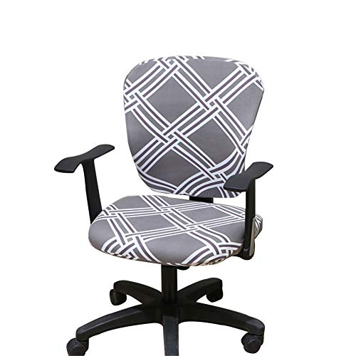 Jinzio Computer Office Chair Cover - Split Protective & Stretchable Cloth Polyester Universal Desk Task Chair Chair Covers Stretch Rotating Chair Slipcover, Light Grey and White Stripe
