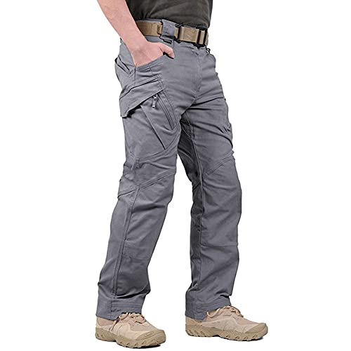 LABEYZON Men's Outdoor Work Military Tactical Pants Rip-Stop Cargo Pants Men (Grey L)