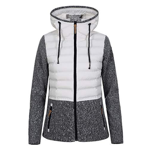Torstai Jacke Damen mit Kapuze Warmer Midlayer-Hoodie aus dickem Strickgewebe, Farbe:Weiss, Damen Größen:XL