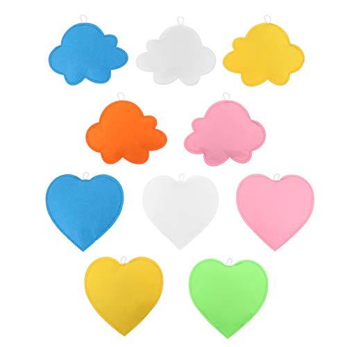 Amosfun 10 Stück Filzwolke Ornament Weiche Wolke Herz Anhänger DIY Wolke Girlande Kinderzimmer Hängende Wolkendekorationen für Kinderzimmer Kindergarten Baby Dusche (Gemischt)