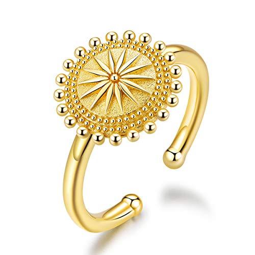 NewL Ring Sonnen-Kompass Fingerringe Gold Farbe verstellbar 925 Sterling Silber Modeschmuck Größe für 6 7 8 9 Bijoux