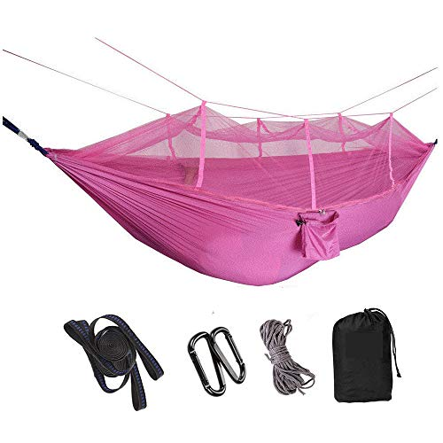 HUANXI LightweightDoubleOutdoor Tent with Storage Bag + Strap,300kg Load Capacity (260x140cm) Pink Camping Tarp for Camping and Backpacking - Ultralight Nylon Pocket Hammock