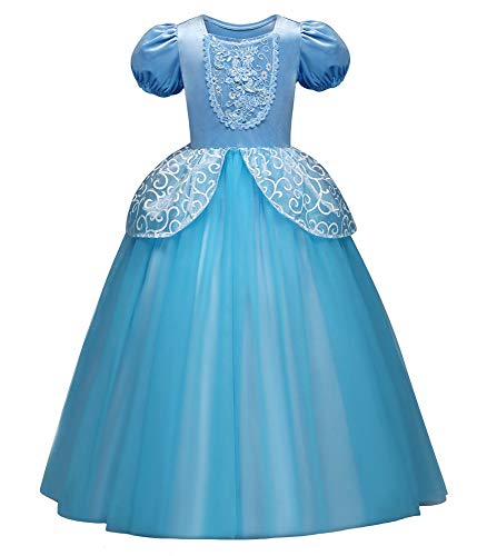 Eleasica Traje de Cenicienta Azul para Nia Infantil Vestido de Cinderella Fiesta de Cumpleaos Atuendo Princesa ELA Cosplay Cenicienta Disfraz Cenicienta Carnaval Halloween