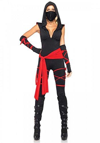 shoperama Deadly Ninja Damen Kostüm von Leg Avenue Akira Kämpferin sexy Assassine Jumpsuit, Größe:M