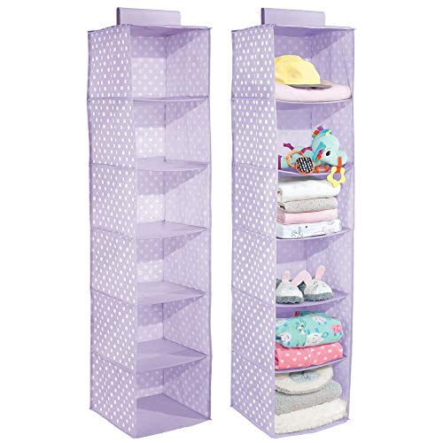 mDesign Soft Fabric Over Closet Rod Hanging Storage Organizer with 6 Shelves for Child/Kids Room or Nursery - Polka Dot Print - 2 Pack - Light Purple/White Dots