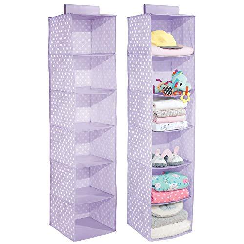 mDesign - Hangende opberger met 6 vakken - babykamer organizer - voor kleding/schoenen/speelgoed en meer - ademend/synthetisch materiaal - blauweregen/wit
