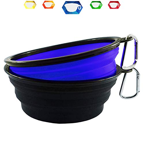 Himi 34OZ Silicone Collapsible Travel Dog Bowl - Set of 2 Large Size 1000ML - Portable Pet Bowl Food&Water - Premium Quality Travel Pet Bowl Solution (Blue-Black)