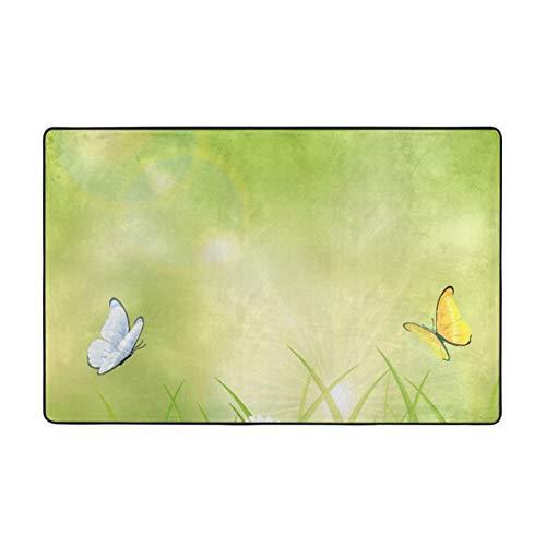 YANAIX Alfombrilla baño, Alfombra de Cocina Puerta Pies Estera Felpudo,Primavera Colorida Día Soleado de Verano Dos Mariposas Volando sobre la Hierba Flores y Mariquitas Belleza Verde 75X45cm