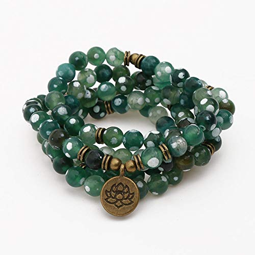 Natuurlijke stenen armband, natuursteen kralen armband 108 mode yoga energie kralen armband 8 mm groen vuur agaat steen trui ketting Lotus hanger elastische kraal armband sieraden gepersonaliseerde kleding